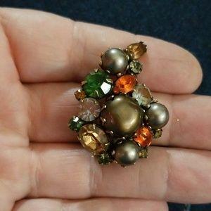 Single Kramer earring -HUGE, brown, orange, green